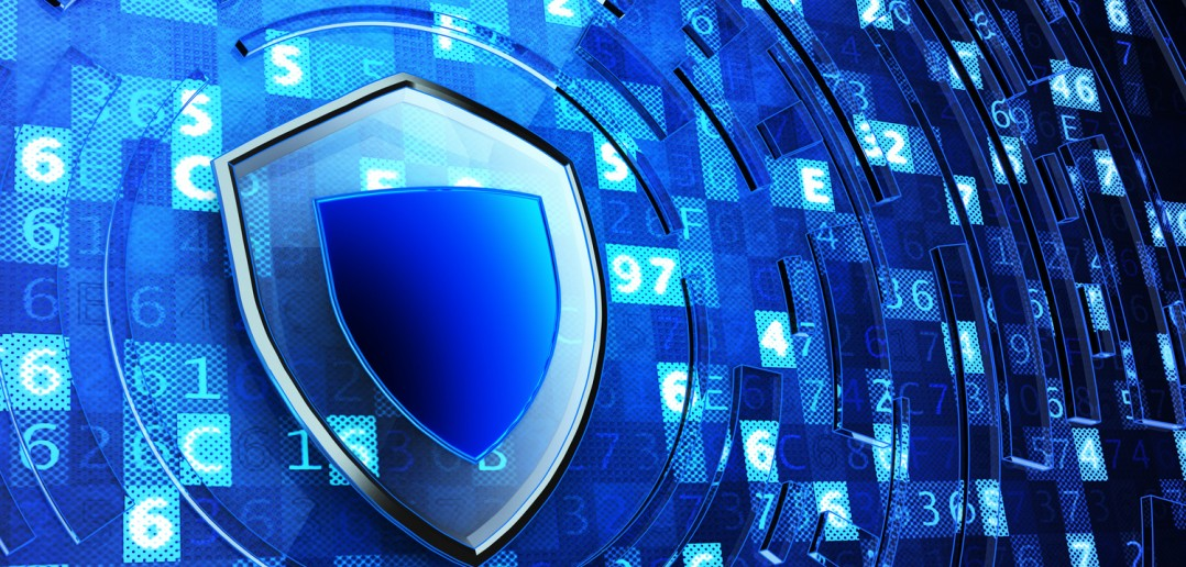 Securing, network firewall, computer data protection and information security concept, shield defense on blue technology background with digital code