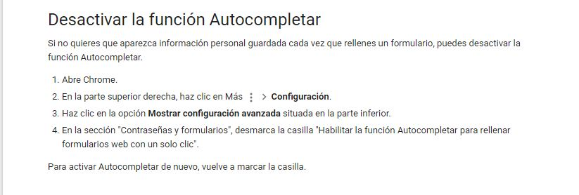 desctivar autocompletar google